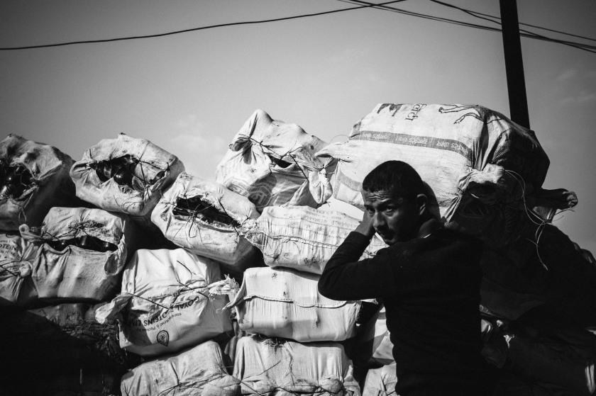 Kathmandu recycling worker